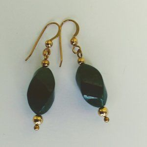 Dk.Green Aventurine twisted Oval Earrings 14K GF